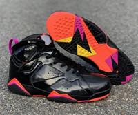 черные кожаные ботинки баскетбола оптовых-Оптовая 7 WMNS 7s Черная лакированная кожа 313358-006 Высокое качество с коробкой горячей продажи бесплатная доставка Мужчины Размер Баскетбольная обувь