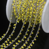 cadena de latón amarillo al por mayor-5 metros / lote, 2 mm cuentas de cubos amarillos de color plateado alambre de bronce envuelto cadena de rosario, diminuto cristal Rondelle mujeres suéter cadenas de joyería