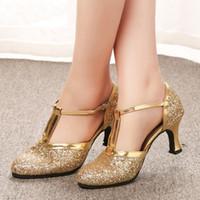 yüksek topuklu dans ayakkabıları toptan satış-Altın yüksek topuklu Kadın Ayakkabı 2019 Kadın Elbise Ayakkabı Pompaları Latin Dans Ayakkabıları 5 CM Düşük Topuklu Kadın D ...