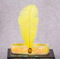 bebek devekuşu tüyleri toptan satış-Devekuşu Tüyü Saç Bandı Bebek Kız Kafa Çiçek Rhinestone Çocuk Parti Headdress için Beyaz Hint Şapkalar Aksesuarları