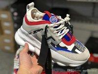 chaîne de maillons unique achat en gros de-Chaîne de réaction Sneakers Designer Chaussures Sport Mode Casual Chaussures formateur Léger Lien unique Embossed Love Sole avec sac à poussière