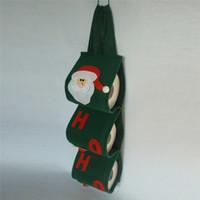 tapa del soporte de papel higiénico al por mayor-Papá Noel Toalla Sets Cubiertas Fiesta de Navidad Titulares de papel higiénico Toallas lindas verdes para la decoración del hogar