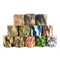 ruban adhésif achat en gros de-12 couleurs 5cmx4.5m Tir en plein air Chasse Caméra Outils Étanche Wrap Durable Tissu Armée Camouflage Bande Chasse Accessoires LJJZ658