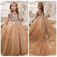 Wholesale cheap ball lights for sale - 2019 Sheer Lace Appliques Ball Gown Girl s Pageant Dresses Pleated Ruched Vestidos De Flower Girls Dresses Custom Long Cheap Kids Formal