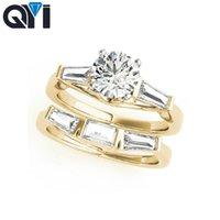 ingrosso set di gioielli in pietra gialla-QYI 1ct 10K oro giallo tre pietra anello di fidanzamento imposta tondo taglio Sona diamante simulato gioielli anelli di nozze per le donne