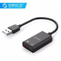 usb ses kartı kablosu toptan satış-Windows / Mac / Linux Orico Taşınabilir USB için Kulaklık / Mikrofon Arabirim Ses Kartı 10cm Kablo Uzunluğu için RICO Taşınabilir Harici Kart USB ...