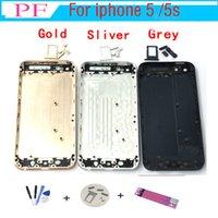 iphone 5s arka gövde toptan satış-1 ADET Gerçek Konut Arka Pil Kapağı iphone 5 5G 5 S Konut Orta Çerçeve Metal Pil Case Arka + Küçük Parçaları Takip + Onarım Aracı