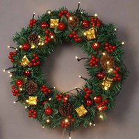 Wholesale garland navidad resale online - Christmas decoration for home Large Bow bauble Wreath Door Wall Ornament Garland Decoration Red Bowknot pc cm navidad F814