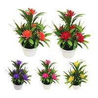 mesa de bonsai venda por atacado-Plantas da festa de casamento criativo Mini Artificial Flor Planta de vaso Lotus Bonsai Garden Home Resturant Tabela Decor Artificial