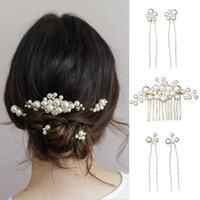 ingrosso pettine di stile vintage-Forcine per capelli da sposa Set di accessori per perle grandi stile barocco vintage per abiti da sposa CX17