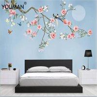 tam oda toptan satış-Duvar kağıtları YOUMAN 3d Fotoğraflar Hd Masaüstü Resim Duvar Kağıdı Çocuk Odası Çiçek Full Hd Duvar Kağıtları Duvar resmi Ev Dekorasyonu Mavi Duvar