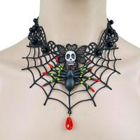 gargantilla gótica vampiro al por mayor-Halloween Black Lace Gothic Colgante Gargantilla Collar Colgante Vampire Chain Spider Skeleton # 70