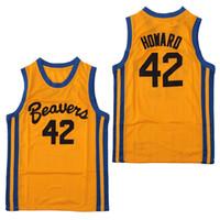 amerikan basketbolu toptan satış-Erkek Genç Kurt # 42 Scott Howard Moive Beacon Beavers Basketbol Forması Sarı Amerikan Filmi sürüm devlet ucuz En kaliteli Dikişli logolar