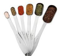 cucharas de pesaje al por mayor-6 Piezas Juego de cucharas de medir de acero inoxidable Cocinar condimento Juego de té de café Herramienta de medición Herramientas de vajilla de cocina H150