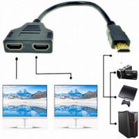 lcd tv dvd hdmi al por mayor-1 en 2 Salida HDMI Splitter Adapter Cable Converter para 1080P HDTV / DVD Players / PS3 / STB y la mayoría de los proyectores LCD, son compatibles con dos televisores