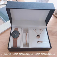 Wholesale crystal bracelet earring watch for sale - Group buy Designer Jewelry Set classic DW Quartz Watch Bracelet Stud Earrings Round Necklace Luxury Fashion Accessories