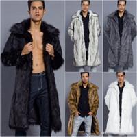 ingrosso cappotti lunghi di pelliccia del faux del mens-Moda cappotti di pelliccia di lusso invernali mens cappotto abiti firmati uomini rivestimento caldo di inverno aperto del cardigan cappotto lungo di pelliccia colletto in pelliccia sintetica Outwear