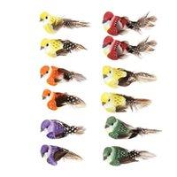 ingrosso ornamenti da giardino animale-12 pz / set Simulazione Uccelli Piuma Modelli Falso Schiuma Artificiale Animale Wedding Home Garden Ornamento Decorazione In Miniatura C19041501