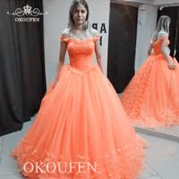 ingrosso arancia arancione abiti donna-Abiti da ballo in tulle arancione con spalle scoperte e appliques 2020 splendido abito da sera lungo a sbuffo gonfiabile per le donne