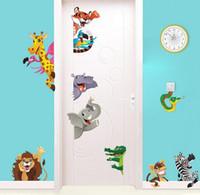 aslan odası dekor toptan satış-Orman Hayvanlar Duvar Çıkartmaları Çocuk Odaları Için Ev Kapı Dekor Karikatür Aslan Fil Giraffee Duvar Çıkartmaları Pvc Mural Art Diy Posterler