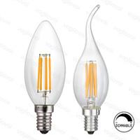 светодиодные лампы накаливания с возможностью затемнения оптовых-Люстра освещение Dimmable светодиодная нить C35 свеча лампа 2 Вт 4 Вт 6 Вт E14 лампы свет Высокий яркий прозрачное стекло светодиодная лампа EUB