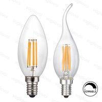 ingrosso candele di lampadine-Lampadario Illuminazione Dimmerabile LED Filamento C35 Lampadina a Candela 2W 4W 6W E14 Lampadine a Led Lampada Luminosa ad Alta Luminosità con Vetro Trasparente