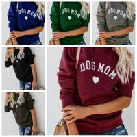 Wholesale velvet hearts for sale - Dog Mum women big girls top long sleeve velvet fashion casual print love heart lady sweatshirt women clothing