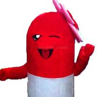 mascote real venda por atacado-2018 Alta qualidade hot Red mascot trajes fantasia vestido foto Real Frete Grátis