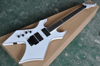 Wholesale unusual guitars resale online - Factory Custom Unusual Shape White Electric Guitar with Rosewood Fretboard Black Hardware Colorful Binding Can be Customized