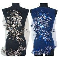 siyah dantel kumaş düzeltme toptan satış-Siyah Mavi Kumaş 3D Çiçekler Boncuk Sequins Rhinestone Aplikler Nakış Dantel Trimler Mesh Düğün Akşam Elbise Dekorasyon Için Yama Dikmek