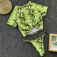 frente de bikini al por mayor-9 colores de diseñador de mujer conjunto de bikini sexy retro delantero nudo de corbata camiseta top bikini traje de baño femenino traje de baño acolchado tanga micro