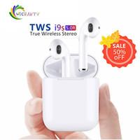 mejores auriculares de teléfono al por mayor-1 PCS inalámbrico Bluetooth i9s TWS Sport Twins Auriculares Auriculares con caja de carga para todos los teléfonos PK i7s Afans i8x V8 La mejor calidad