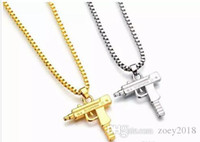 Wholesale gun shape pendant for sale - Group buy 2018 New Uzi Gold Chain Hip Hop Long Pendant Necklace Men Women Fashion Brand Gun Shape Pistol Pendant Maxi Necklace HIPHOP Jewelry