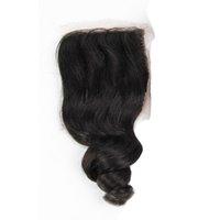 gevşek dalga saç üstü kapatma toptan satış-Gevşek Dalga Dantel Kapatma Ağartılmış Knot Doğal Renk 4X4 Üst Dantel Kapatma Ile Bebek Saç Ücretsiz Orta Üç Bölüm İnsan Saç Uzantıları