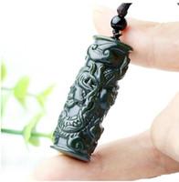 pilar de jade venda por atacado-Natural Pillar Hetian Jade Dragon Colar Pingente Signo Charme Jóias Acessórios de Moda esculpida à mão Homem Mulher Sorte Amuleto