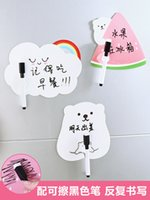 kalemler mesaj panosu toptan satış-Yaratıcı Buzdolabı Sticker Kalem Ile Yeniden Yazılabilir Mesaj Panosu 3 Adet / grup Sevimli Karikatür Dekor Duvar Mesaj Çıkartmalar