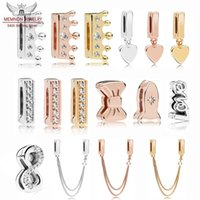 Wholesale 925 rose gold pendant for sale - Group buy 100 Sterling Silver Reflexions heart pendant Clip Charms shine bow beads rose safety chain charm Fit bead Bracelet Original DIY making