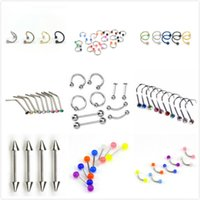 düğme burnu toptan satış-10 adet Çelik Belly Button Piercing Kulak Damızlık Segment Yüzük Burun Halkası Dudak Kaş Piercing Endüstriyel Halter Vücut Takı Piercing