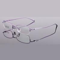 gafas de titanio de media montura. al por mayor-Ultraligero Anti Blue Ray Eyeglasse Mujeres Titanio Media Llanta Gafas Montura Mujer Gafas de Prescripción Óptica Gafas Marcos