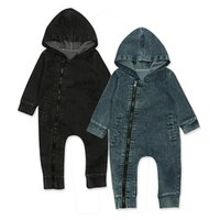 siyah bodysuit fermuar toptan satış-Bebek Yenidoğan Bebek Erkek Kız fermuar Denim mavi siyah Bodysuit hoodies şapka ile Romys Bodysuits Romper Giysiler Kıyafetler