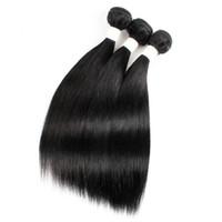 tração de cabelo de 28 polegadas venda por atacado-Beijo Cabelo Cor Preta 10-22 polegada Crua Virgem Indiano de Seda Em Linha Reta Cabelo Weave Brasileira Malaio Peruano Trama Do Cabelo Humano