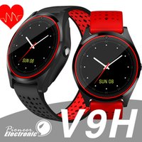 Wholesale home blood pressure monitor online - For apple iPhone V9 HR Smart Watch with Camera Heart Rate Monitor Bluetooth Smartwatch SIM Card Wristwatch for Android Phone pk fitbit dz09