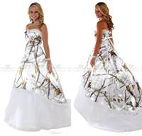 velo hacia atrás al por mayor-Sweetheart Camo White Tree Real Vestidos de novia de una línea con velo Vestidos de novia Lace Up Back Vestidos de camuflaje personalizados Vestidos de novia