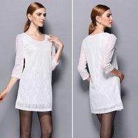 dantel şık cheongsam toptan satış-Hirigin Kadınlar Zarif Vintage 3/4 Kol Dantel Mini Elbise Yaz Slim Fit Cheongsam Düğün Çiçek Beyaz / Siyah Elbise