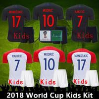 Wholesale kids world soccer jerseys for sale - Group buy Top quality World Cup Kids Kit VIDA REBIC RAKITIC Hrvatska LOVREN Soccer Jersey Luka modric Voetbal croazia Football Shirts MANDZUKIC