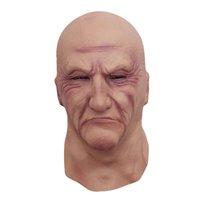 baş maskesi kauçuğu toptan satış-Gerçekçi Lateks Yaşlı Adam Maske Erkek Kılık Cadılar Bayramı Fantezi Elbise Kafa Kauçuk Yetişkin Parti Maskeleri Masquerade Cosplay Sahne