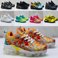 Wholesale air cushioned trainers resale online - 2019 toddler kids tn Breathable Rainbow Mesh Running Sneakers tns Air Cushion children pour enfants Athletic sport Shoes Plus trainers