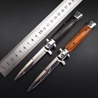 Wholesale wood handle folding knives for sale - Group buy Italian Godfather Mafia Stiletto Horizontal Tactical Folding Knife Cr13 Wood Handle Auto Camping Hunting Survival EDC Tools