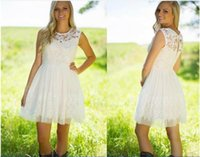 Wholesale western homecoming dresses for sale - Group buy Sexy New Little Ivory Lace Bridesmaid Dresses A Line Jewel Illusion Neck Western Country Garden Short Homecoming Party Wedding Guest Gowns