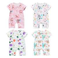 ingrosso baby rompers animali-Newborn Baby Summer Pagliaccetti a maniche lunghe Manica corta Cartoon Animal Vegetables Pagliaccetti stampati Kids Designer Clothes 7 Styles